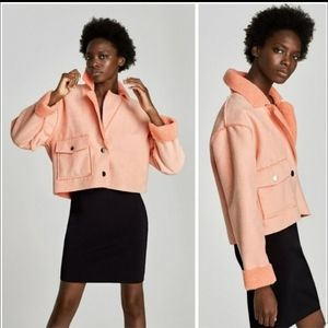 Zara cropped faux shearling jacket peach